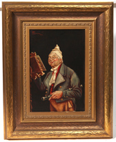 Oil Painting of Musician Signed P. C. Mossani
