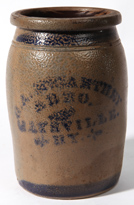 BLUE DECORATED MAYSVILLE, KY. STONEWARE JAR