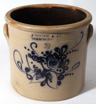 J. NORTON BLUE DECORATED STONEWARE JAR