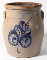 NORTON BLUE DECORATED STONEWARE JAR