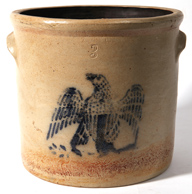 BLUE DECORATED STONEWARE JAR W/EAGLE