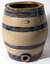 A.E. SMITH BLUE DECORATED STONEWARE COOLER
