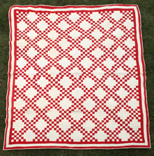 FINE EARLY RED & WHITE QUILT
