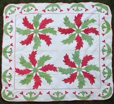 WHIRLING LEAF APPLIQUE QUILT