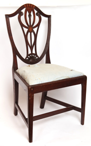 PERIOD AMERICAN INLAID MAHOGANY SHIELD BACK CHAIR