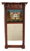 FEDERAL  MAHOGANY REVERSE PAINTED MIRROR