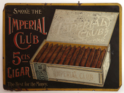 EMBOSSED TIN SIGN - IMPERIAL CLUB CIGARS
