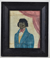 Folk Art Watercolor of African American Gentleman