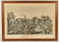 Large Folio Currier & Ives High Water In The Mississippi