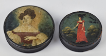 Two Decorated Papier Mache Snuff Boxes