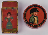 Two Decorated Tin Snuff Boxes