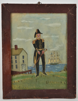 Folk Art Watercolor of Naval Officer