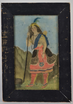 Early Folk Art Watercolor of Indian Maiden