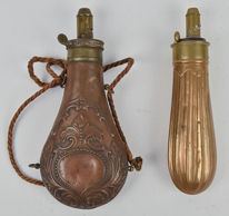 Two Early Brass Powder Flasks