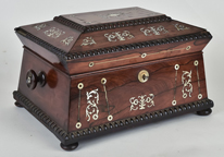 Fine Inlaid Rosewood Sewing Box