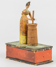 Folk Art Hand Cranked Wood Lady Churning Butter