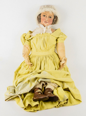 Early Painted Oil Cloth Doll