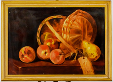 Still Life Painting of Basket of Apples