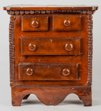 Rare Miniature Redware Chest of Drawers