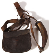 EARLY HUNTING POUCH & HORN