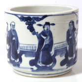 CHINESE BLUE PAINTED PORCELAIN BRUSH POT