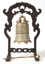 CHINESE BRONZE BELL IN STAND