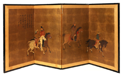 CHINESE PAINTED DRESSING SCREEN