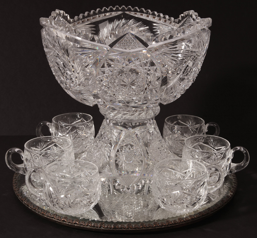 Brilliant Cut Glass Punch Bowl 128 Cut Glass Punch Bowl Amp