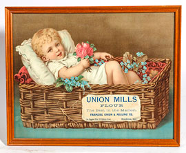 Union Mills Flour Chromolithographed Sign