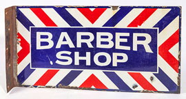 Porcelain Barber Shop Bracket Sign