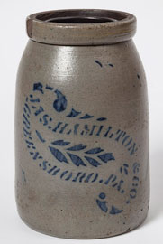 Jas. Hamilton Greensboro Decorated Stoneware Jar