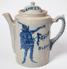 Relief & Cobalt Decorated Stoneware Coffee Pot