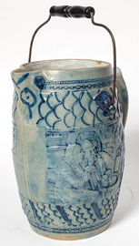 Relief & Cobalt Decorated Beer Pitcher