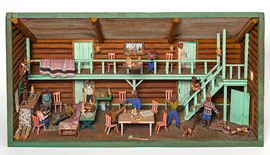 Folk Art Diorama of Hunting Lodge