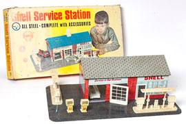 Tin Chromo Toy Gas Station