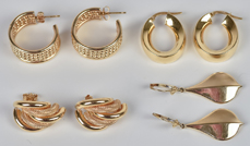 Four Pair of Gold Earrings
