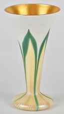 Quezal Pull Feather Vase