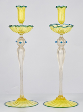 Pair Venetian Glass Candlesticks