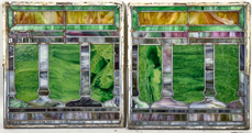 Pair of Arts & Crafts Leaded Stained Glass Windows