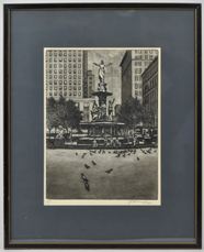 E.T. Hurley Etching of Fountain Square Cincinnati