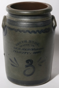 BLUE DECORATED FELICITY, OH. STONEWARE JAR