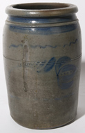BLUE DECORATED STONEWARE JAR WITH TULIP