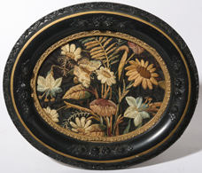 19TH CENTURY NEEDLEWORK OF FLORALS & BUTTERFLY