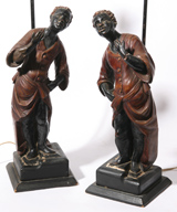 PR. BLACKMOOR FIGURAL TABLE LAMPS