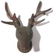 19TH CENTURY BLACK FOREST CARVED DEER HEAD