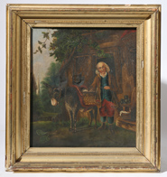 EARLY 19TH CENTURY PAINTING OF MAN W/SCALES