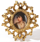 HANDPAINTED PORCELAIN PLAQUE OF YOUNG LADY