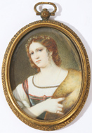 MINIATURE ON IVORY OF YOUNG MAIDEN