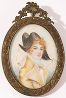 MINIATURE ON IVORY PORTRAIT OF YOUNG LADY
