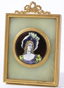 FRENCH ENAMELED PORTRAIT OF YOUNG LADY